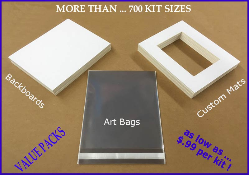 Custom Cut to size Art show mat kits with beveled mats backing and clear bags