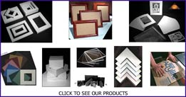 Mirage product images of custom cut art materials and handmade picture frames