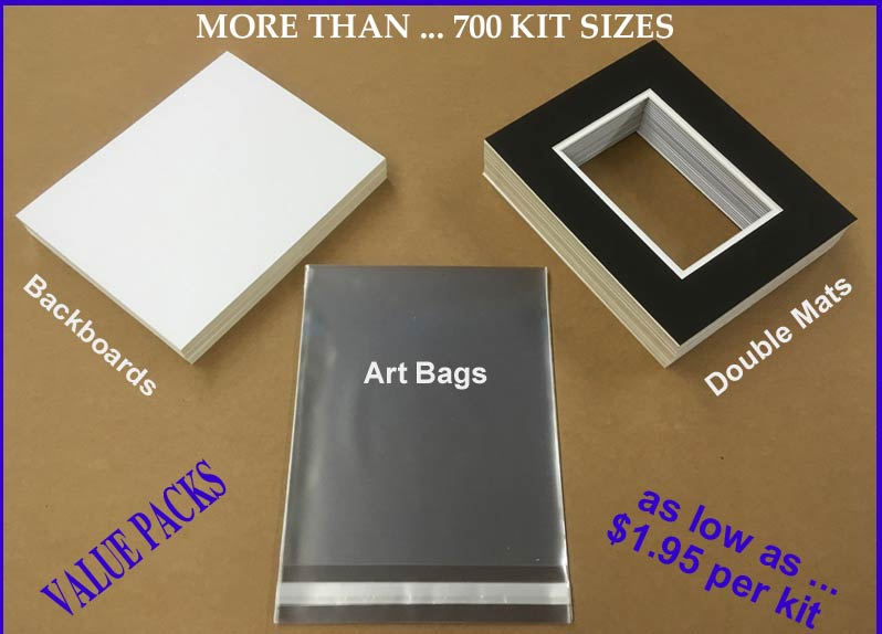"VALUE-PACKS - Art Show Mat Kits - <u>DOUBLE MATS</u><br><font color=""#000000"">( Select by ... <u>IMAGE SIZE</u></font><br>CRESCENT ® Standard-Core DOUBLE MATS SHOW KIT, CRESCENT Pre-cut, VALUE PRICED, Custom Mat Kits, Standard Sizes, Non-Standard Art Show Mats, Backs, Clear-Bags"