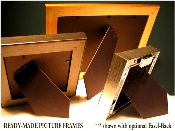 Custom ready-made table top photo picture frames shown with easel backs